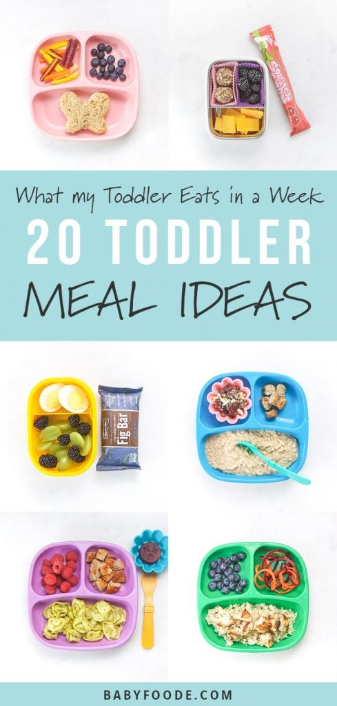 A collage of healthy toddler meal ideas for breakfast, lunch, dinners, and snacks.