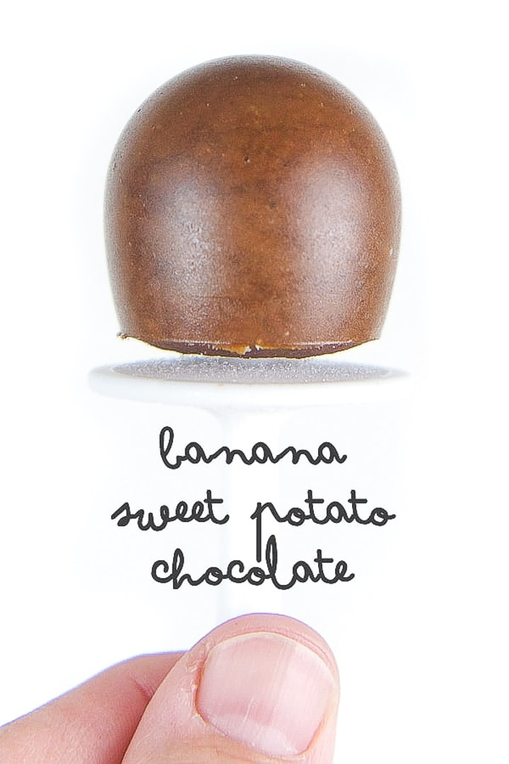 mini homemade popsicle for baby and toddler - banana sweet potato chocolate.