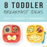 A collage of healthy breakfast ideas and recipes for toddlers.