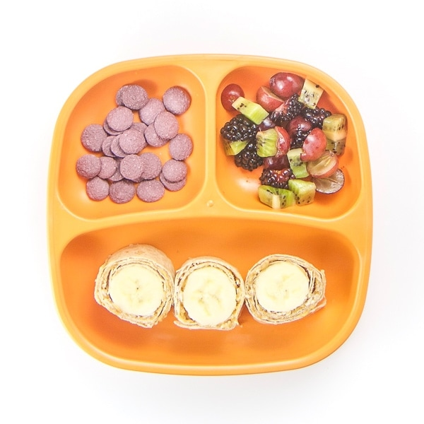 toddler plate filled with healthy breakfast