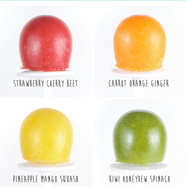 grid of side shots of 4 healthy popsicles - red, orange, yellow and green