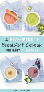 A collage of fruit and vegetable breakfast cereals for baby.