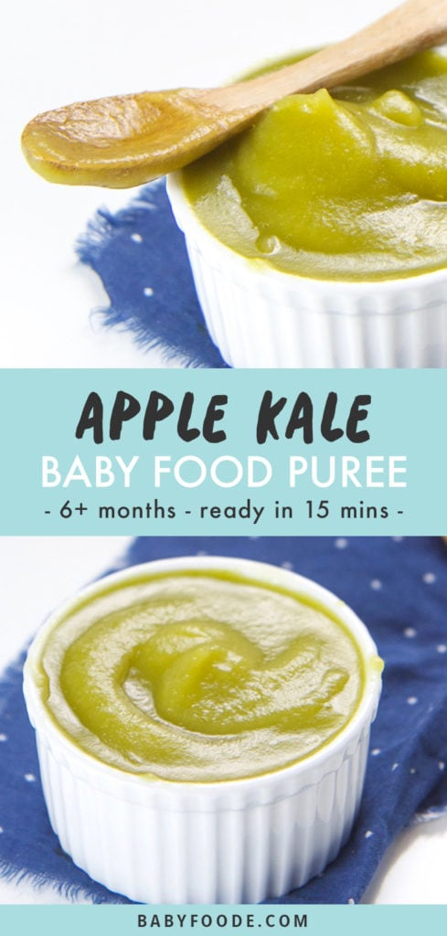 Pinterest image for apple and kale baby food puree.