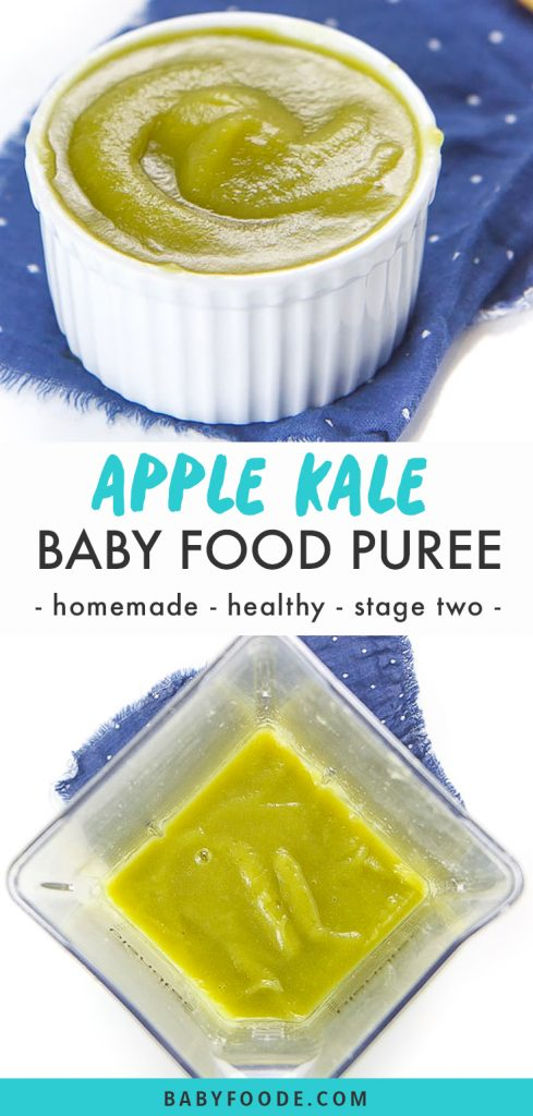 Graphic for Post - apple kale baby food puree - homemade - healthy - stage two with images of a bowl full of puree and a blender just blended the puree.