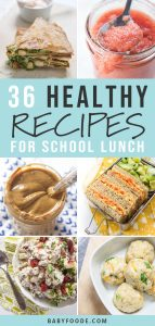 A collage of healthy recipes for packing school lunch boxes.