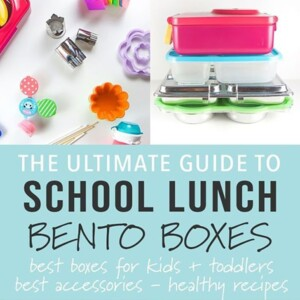 A graphic for the post - Ultimate Guide to School Lunch Bento Boxes with a grid of pictures of bento boxes and accessories.