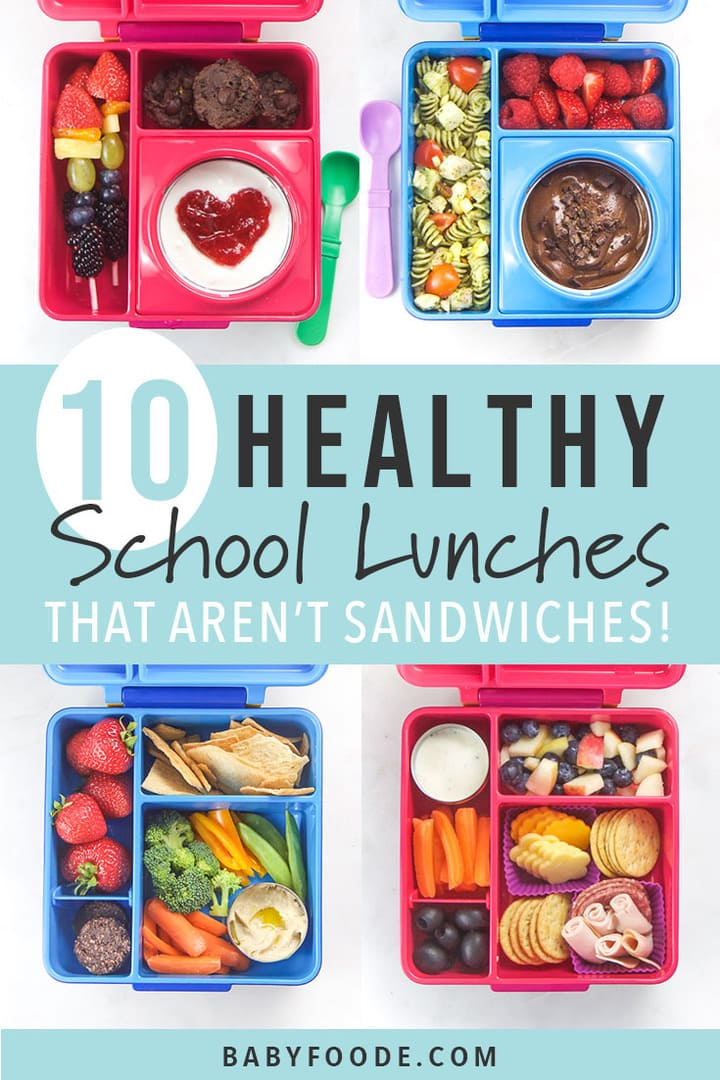 A collage of healthy school lunches in bento boxes.