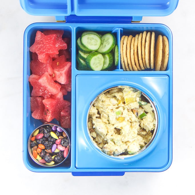 Blue school lunch box filled with healthy school lunch ideas.