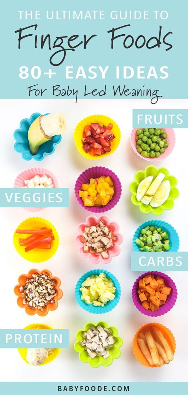 The Ultimate Guide to Finger Foods - 80 Tasty Ideas for Baby Led Weaning, with images of  a spread of different foods for baby.