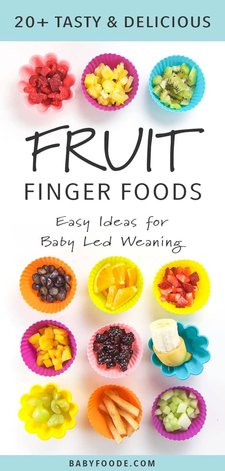 Fruit Finger Foods - easy ideas for baby-led weaning with a spread of cups of finger foods for baby.