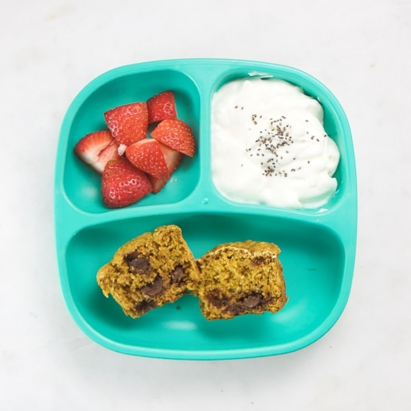 toddler plate filled with easy and health foods