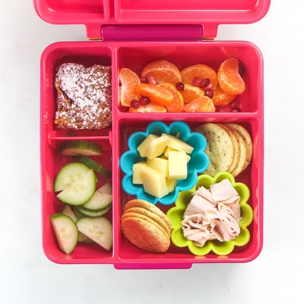 toddler lunch box with healthy food inside