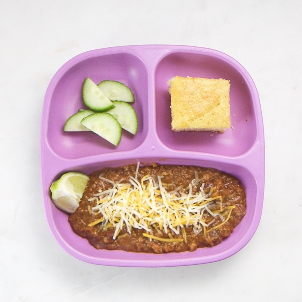 toddler dinner idea - plate with chili and sides
