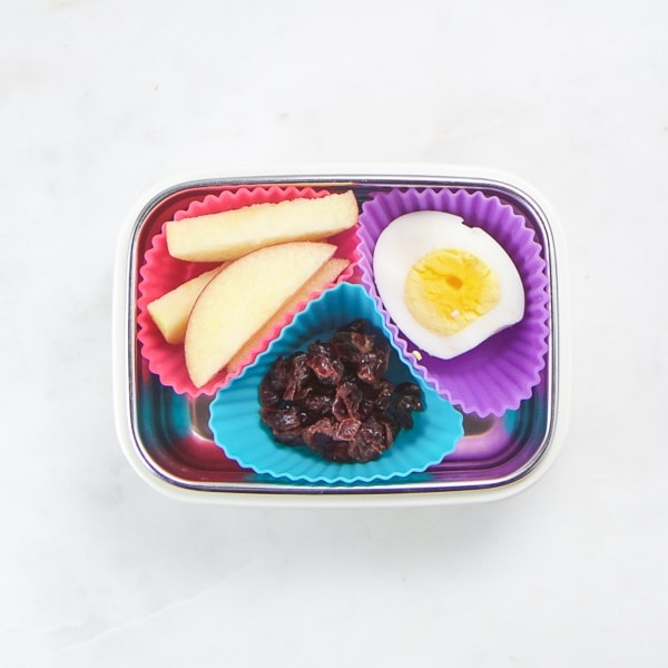 small bento box filled with healthy toddler foods