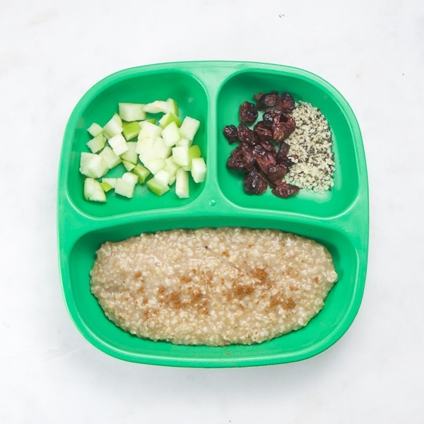 toddler plate with healthy breakfast foods