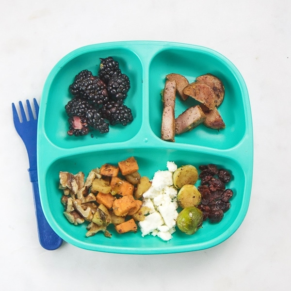 toddler plate with healthy dinner on it.