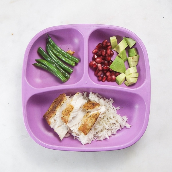 toddler dinner - fish and green beans
