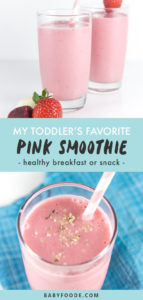 Pinterest collage for a healthy kid friendly pink smoothie recipe.