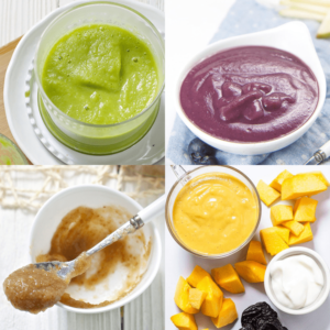grid of baby food purees that help ease constipation.
