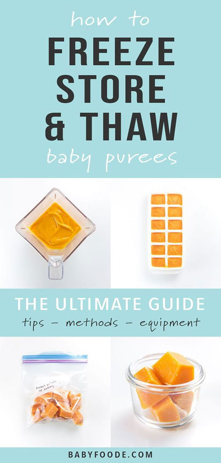 Collage of pictures showing how to freeze, store and thaw homemade baby food.
