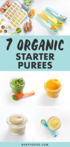 Pinterest image for a collection of frugal organic starter baby purees.