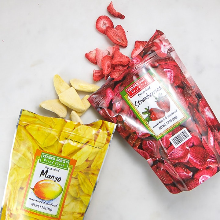 dried fruit spilling out of a bag for toddlers and kids