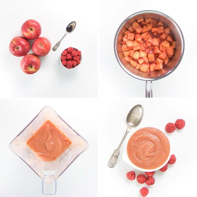 A collage of images showing how to make apple raspberry puree for babies and toddlers.