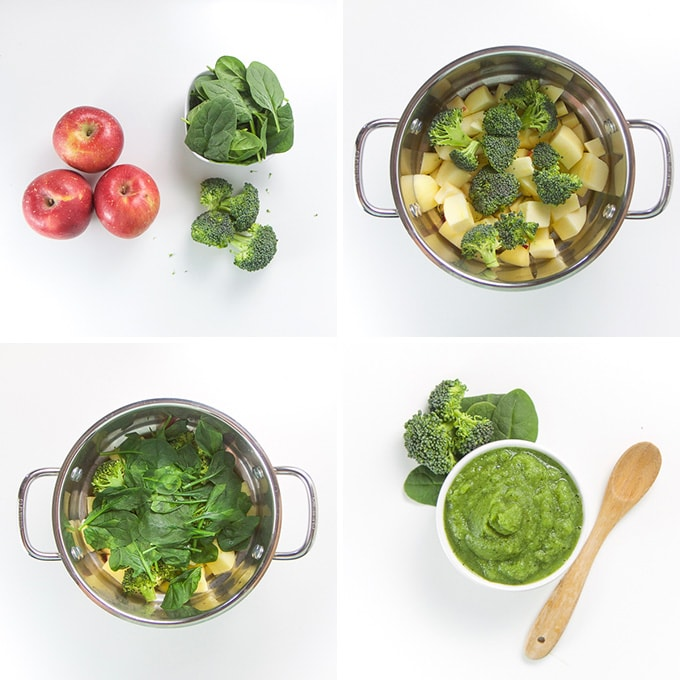 Four images showing how to make apple, spinach, and broccoli baby food puree.