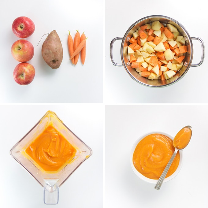 A collage of images showing how to make apple, sweet potato, and carrot puree.