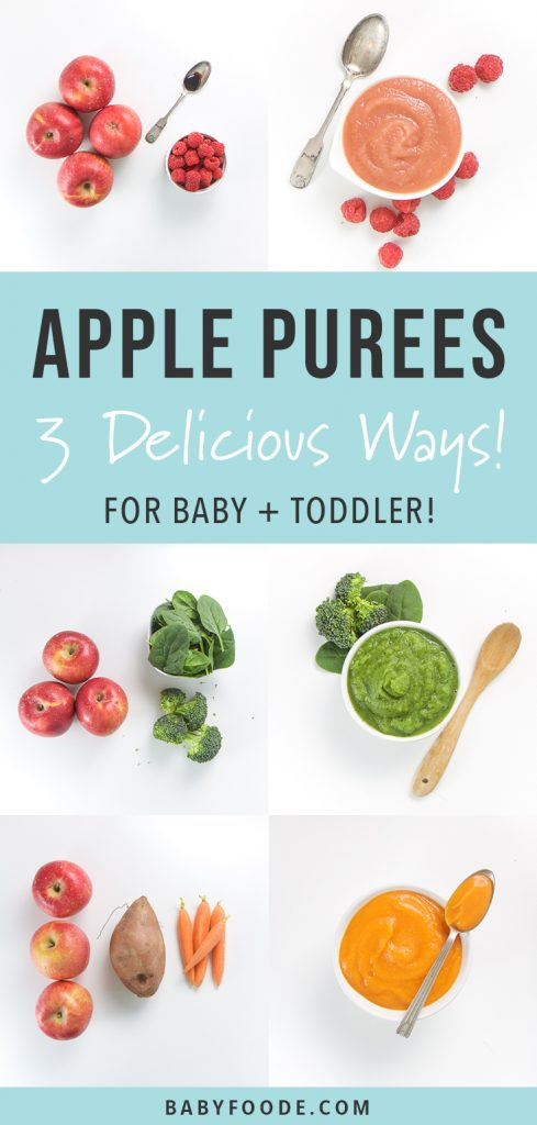 A collage of apple purees for baby and toddler prepared three different ways.