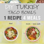 A collage of various combinations of Turkey Taco dinner bowls for adults, kids, and toddlers.