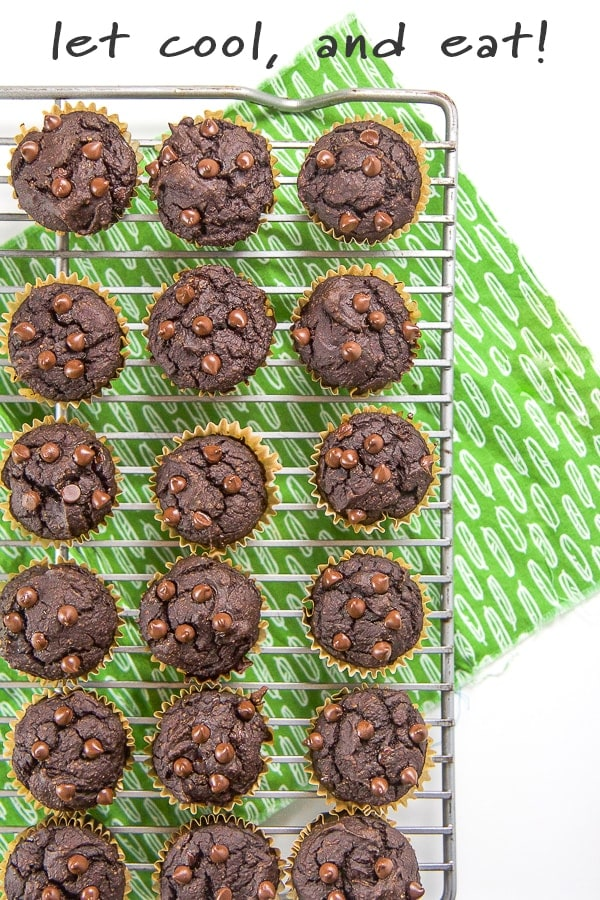Cooling rack with chocolate chip muffins