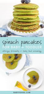 A stack of healthy gluten free blender spinach pancakes, and kid friendly spinach pancakes on a plate.