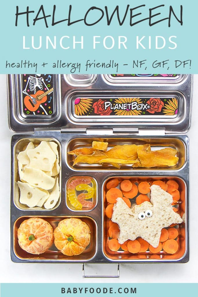 graphic for post with a lunch box containing fun halloween themed foods for kids.