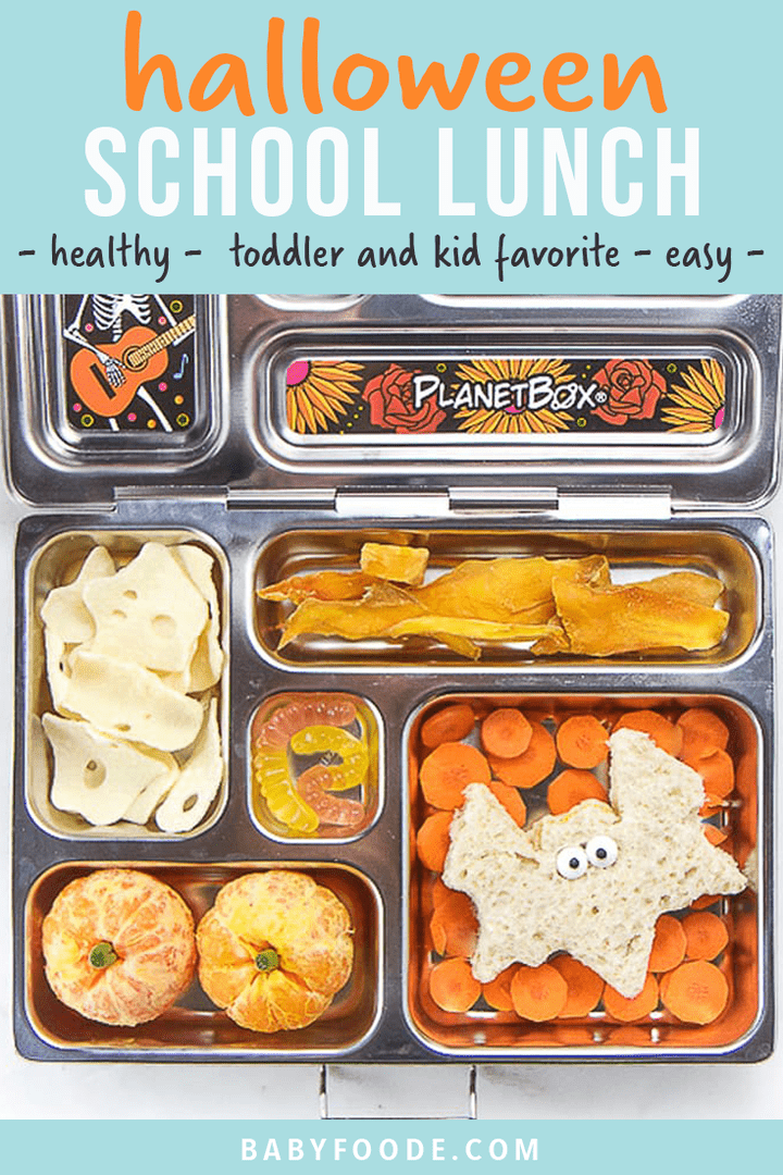 Graphic for Post - halloween school lunch - healthy.- toddler and kid favorite - easy. Image is of an open lunch box with healthy halloween themed food inside.