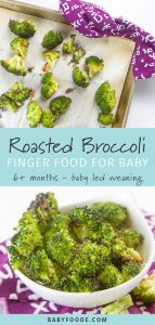Baby led weaning friendly roasted broccoli finger food on a baking sheet and in a white bowl.