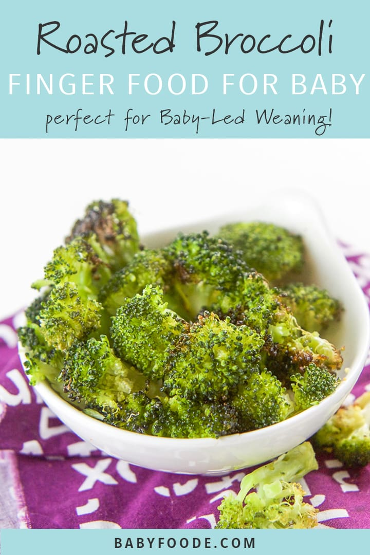 Roasted broccoli finger food for baby led weaning in a white bowl.