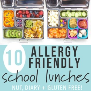A collage of gluten free, dairy free, and nut free school lunch boxes for kids and toddlers.