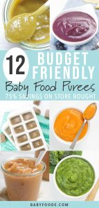 A collage of budget friendly and frugal homemade baby food purees.