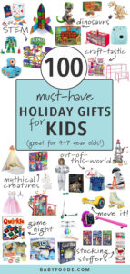 100 must have Christmas gifts for kids with spread of toys on white background.