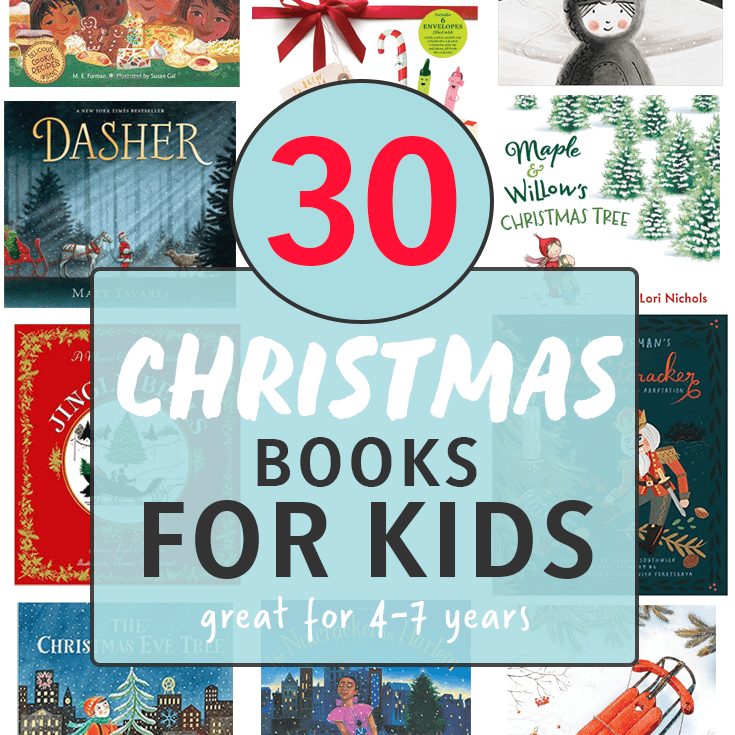 30 Christmas books for kids with images of book covers all lined up.