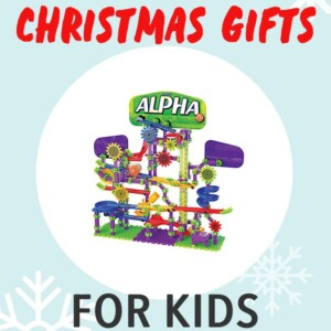 Christmas gifts for kids - with a toy in the middle of a white circle. Great for kids ages 4-7.