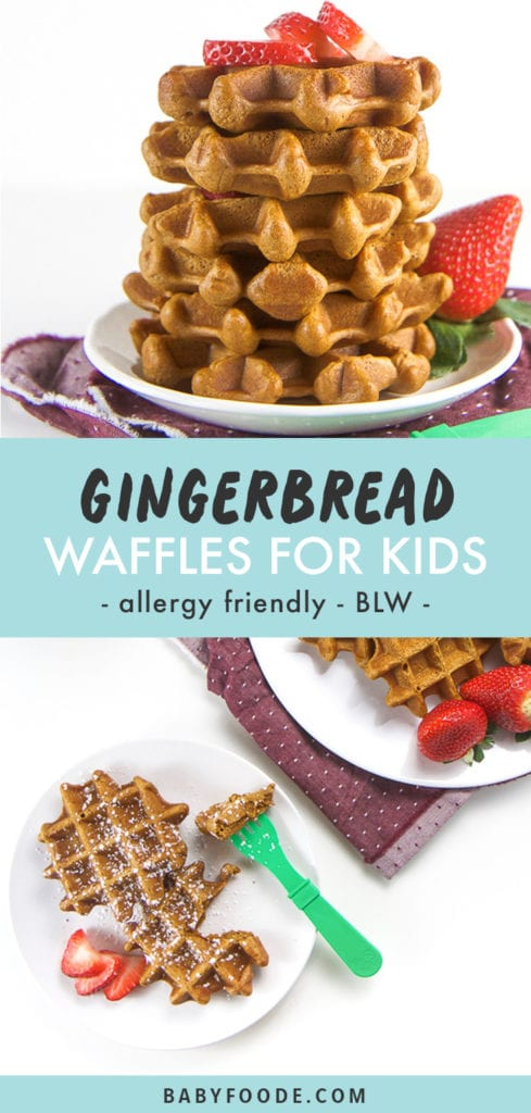 Pinterest collage for healthy gingerbread waffles recipe.