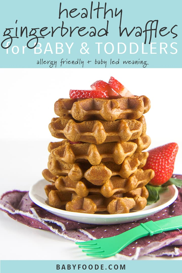 Pinterest image for healthy gingerbread waffles recipe.