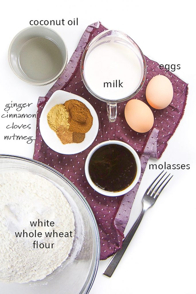 ingredients in a spread for gingerbread waffles.