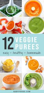 A collage of vegetable only purees for baby.