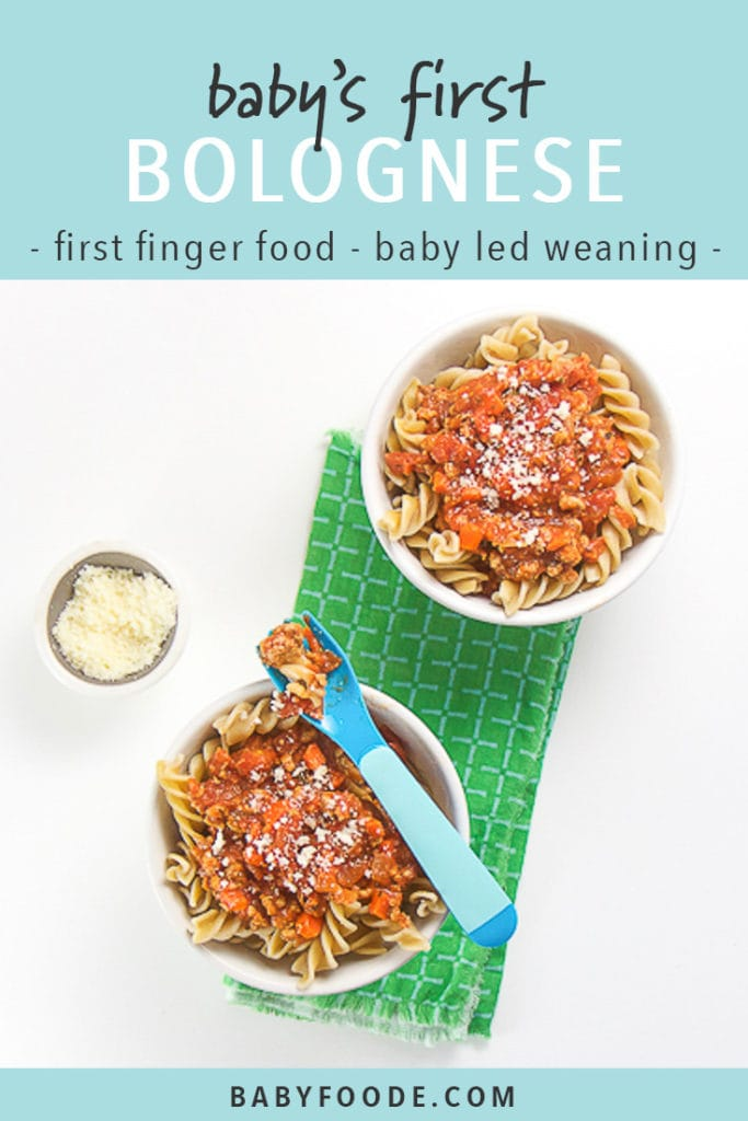 Pinterest image for baby's first bolognese - a quick and easy recipe for baby led weaning.