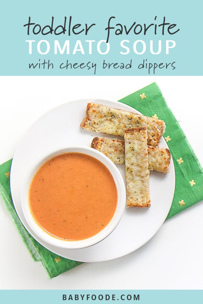 Pinterest image for Tomato Soup with Cheesy Bread Dippers.
