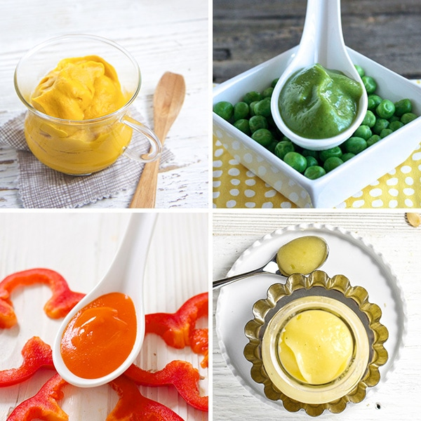 A collage of vegetable only baby food purees.