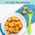 Pinterest image for baby led weaning seasoned tofu nuggets.